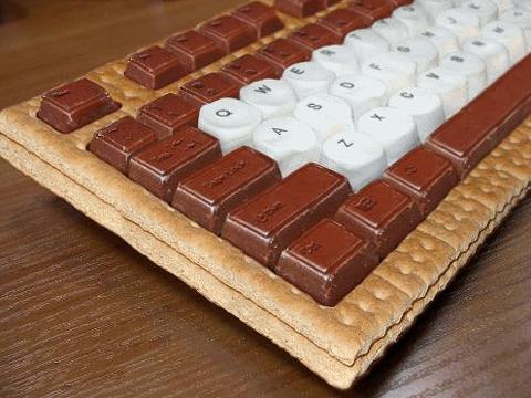 Clavier d'ordinateur en chocolat